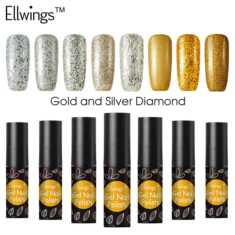 Ellwings 1pcs Gel Polish 3D Gold and Silver Diamond Hybrid Glitter ...