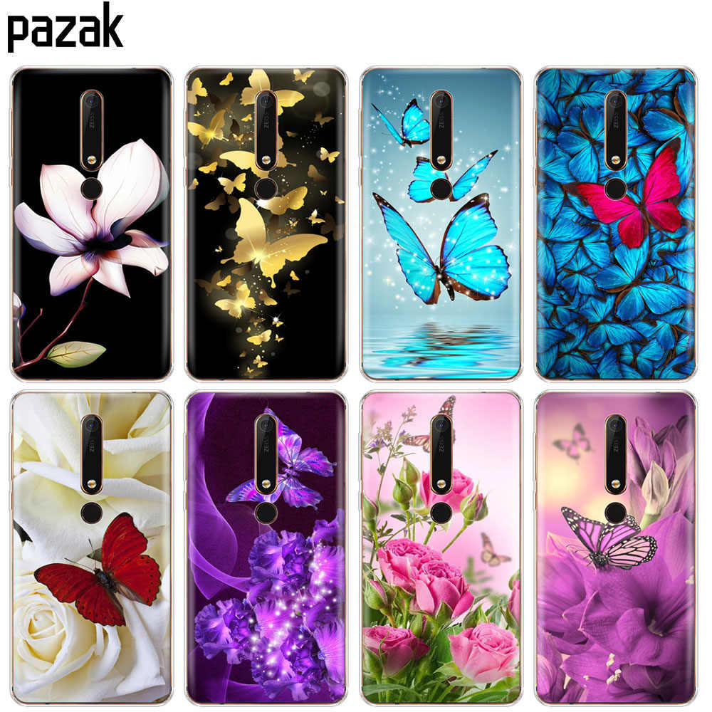 Silicon case for Nokia 1 2 5 3 6 7 8 9 2017 nokia 6 2018 6.1 3.1 2.1 5.1 PLUS x5 x6 case soft tpu phone clear butterfly flower