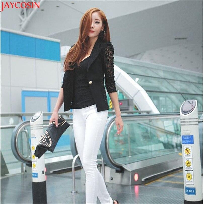 women jacket Fashion 1PC Sexy Women Long Sleeve Lace Crochet Small Jacket jaqueta feminina TJ
