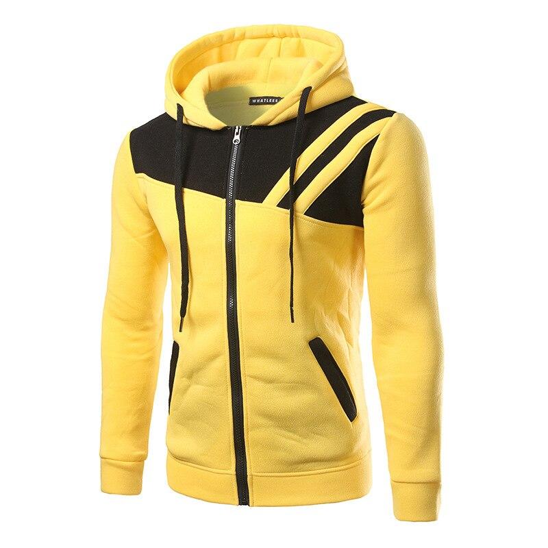 And men irregular twill splicing bump color zipper cardigan hooded fleece jacket