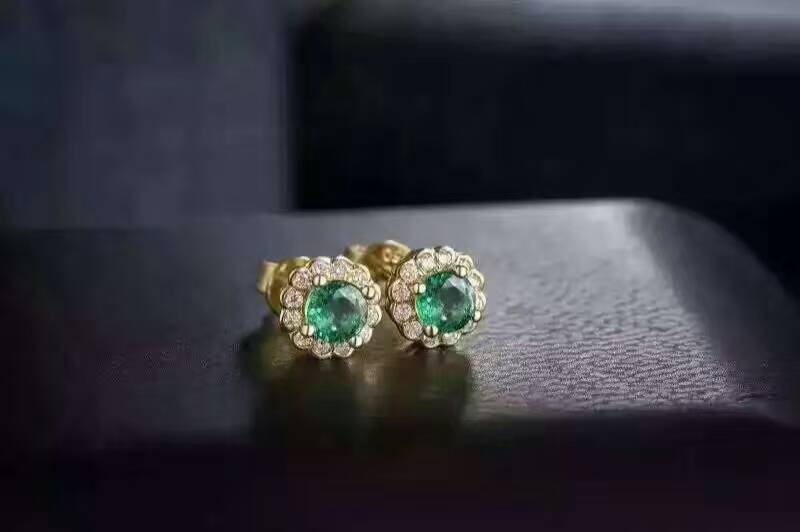 Природный зеленый изумруд серьги серебро 925 природных драгоценных камней серьги женские классические роскошные круглый изысканные серьги ...