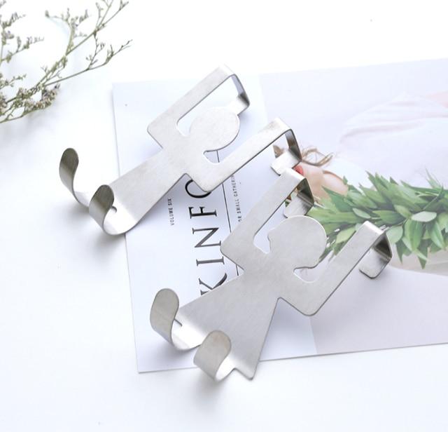 Support de rangement en acier inoxydable   Crochet de porte en forme damants naturels, auto-armoire porte-vêtements, organisateur de serviettes 2 pièces