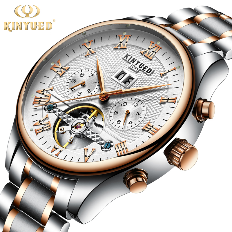 Kinyued moda caliente relojes mecánicos hombres Top marca de lujo banda de acero inoxidable automático mano reloj Tourbillon reloj