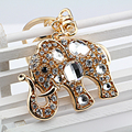 New design  Gold  Cute little big elephant Rhinestone metal keychain keyring car key chain pendant  women and men creative gifts