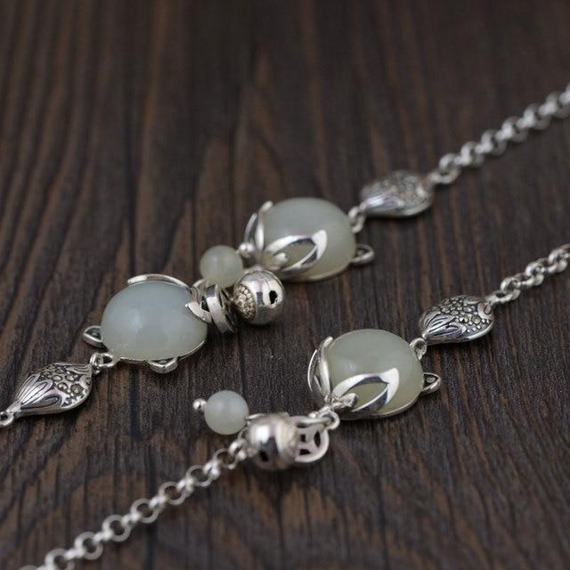 fa6318c40 925 zorro de plata Pulsera de encanto Natural Yu piedra 17 cm + 5 cm ...