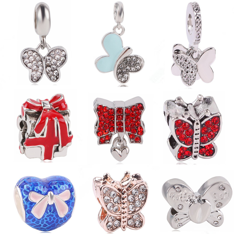 RanqinOriginal Fashion European Pink Blue Butterfly Pendant Beads Series Gift Box Fit Pandora Charms Bracelets DIY Women Jewerly