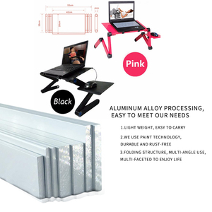 Image 4 - SUFEILE Aluminum Laptop Folding Table Computer desk Stand for Bed 360 degree rotation MultiFunctional Portable folding table D5