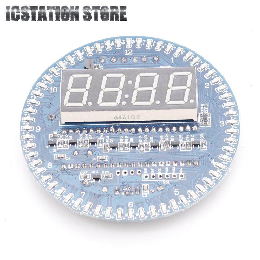 DS1302 Rotating LED Display Electronic Clock Module Temperature Display Alarm DIY Kit rotating ds1302 digital led display module alarm electronic digital clock led temperature display diy kit learning board 5v