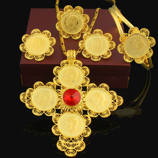 Newest Big Size Cross Ethiopian wedding jewelry 24K Gold Plated Rhinestone Jewelry Set African bridal jewelry sets For Women