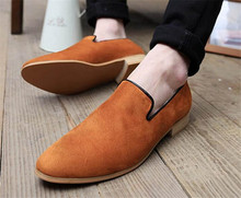 Brand Men Brogue Shoes Fashion Slip On Loafers Flat Heels Cow Leather Shoes Round Toe Dress Formal Shoes Men Oxfords For Male