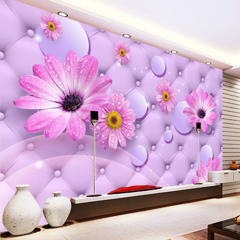 Modern Purple Flower Soft Pack Non-woven Mural Wall Paper Living Room Bedroom Background Wall Home Decor Custom Photo Wallpaper