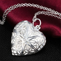 2016 Новый Серебряные Ювелирные Изделия Медальон Hollow Крест Открытое Сердце Кулон Ожерелье Для Женщин Девушки Лучший Подарок