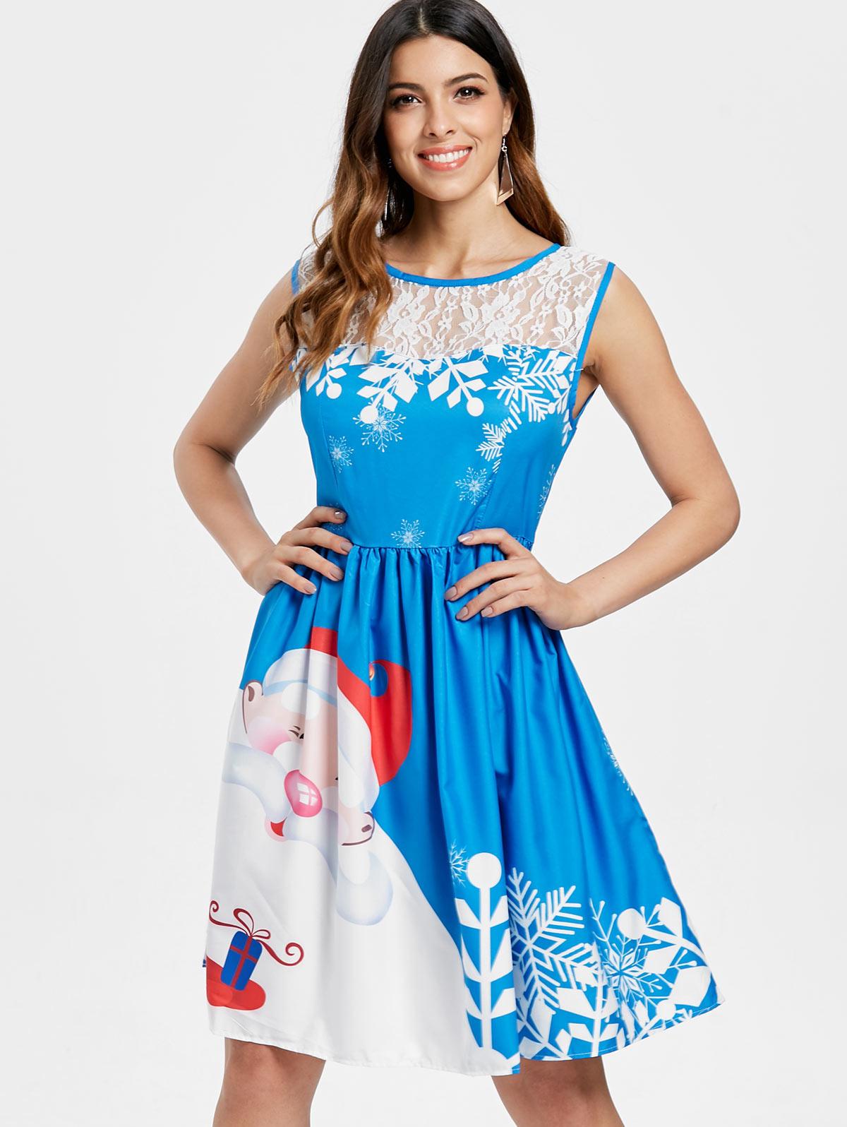 ed6312e46710 Kenancy Christmas Lace Insert Santa Claus Print Party Dress Women Vintage  Dress Cheap Clothings Clearance Sales