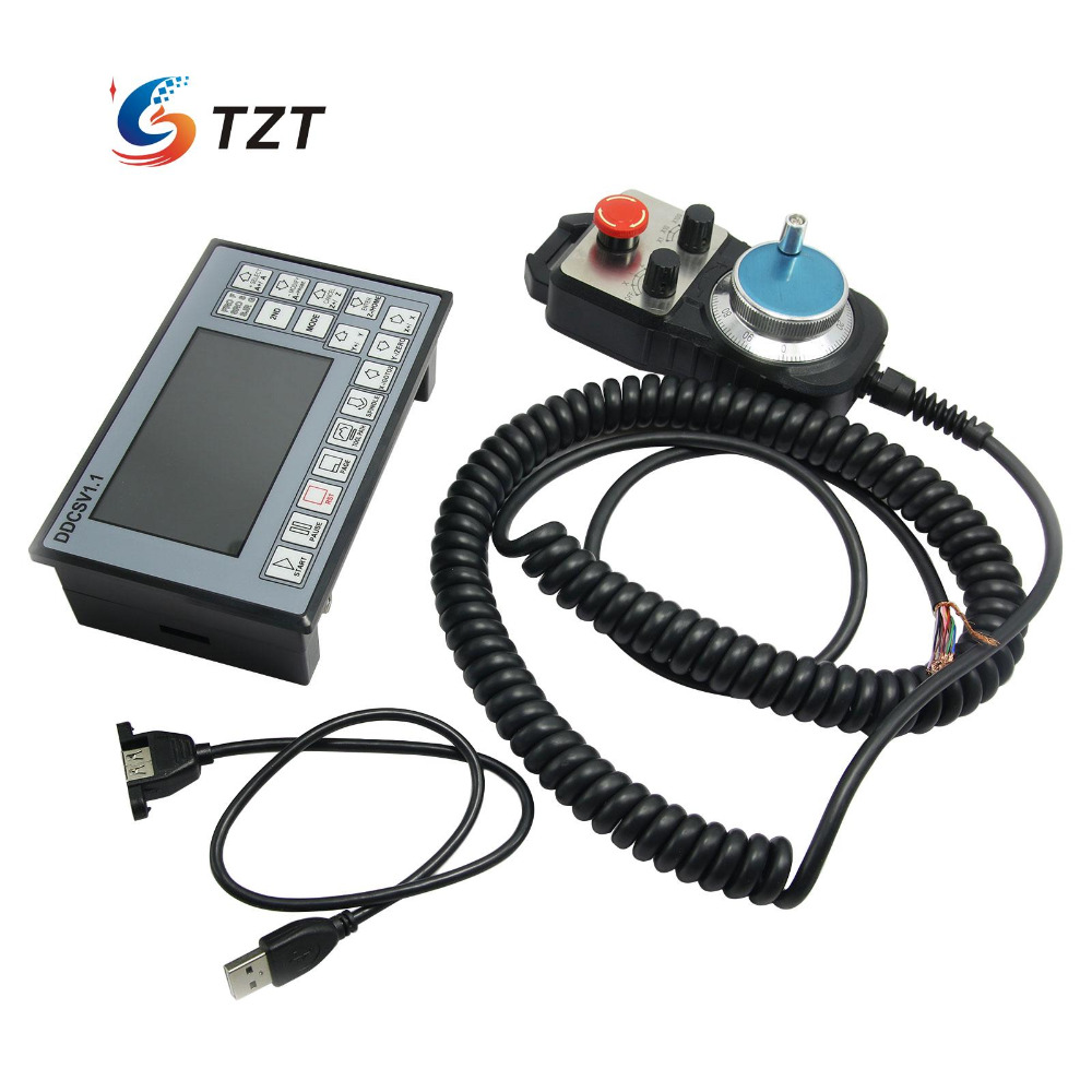 CNC 3 Axis Motion Controller Motor Driver 500KHz DDCSV1.1 + 4 Axis MPG Pendant Handwheel & Emergency Stop