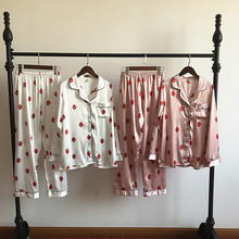 Casual Strawberries Printed Pajamas for Women