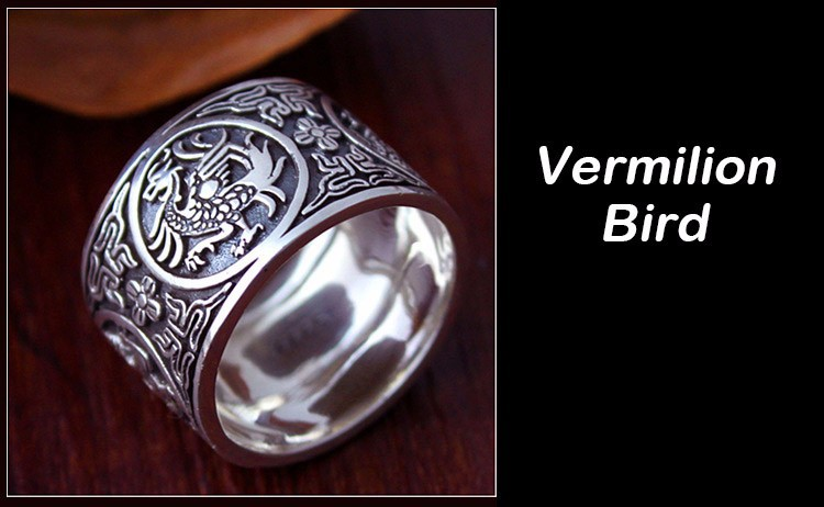 Awesome Chinese Traditional Culture 999 Sterling Silver Ring Vermillion
