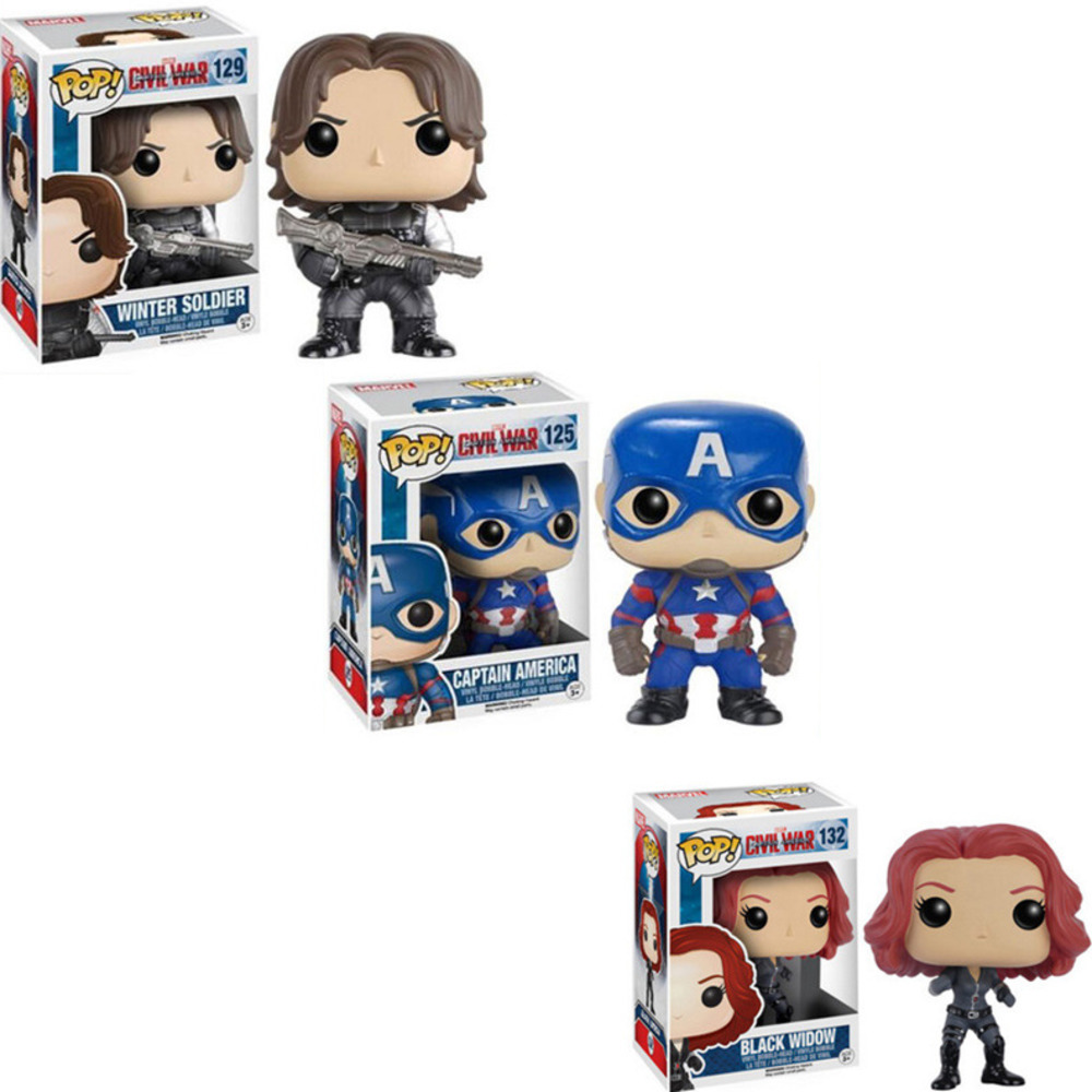 Marvel Avengers Alliance 3 FUNKO POP Captain American Winter Soldier Black Widow Character Movie Jewelry Set цена