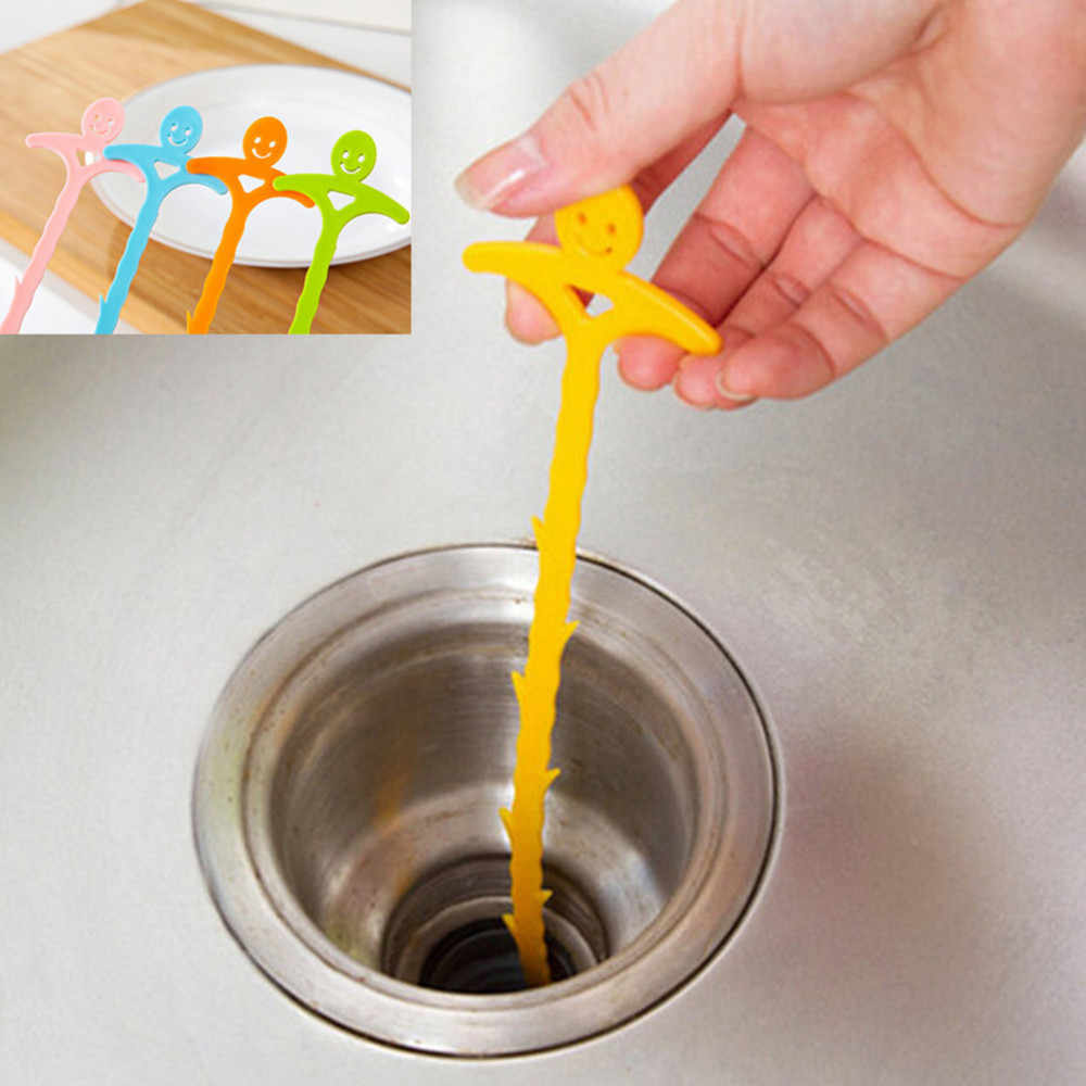 Sink Cleaning Hook Sink Hair Cleaning Hook Drain Sewer Dredge Device Bathroom Brush Random Color