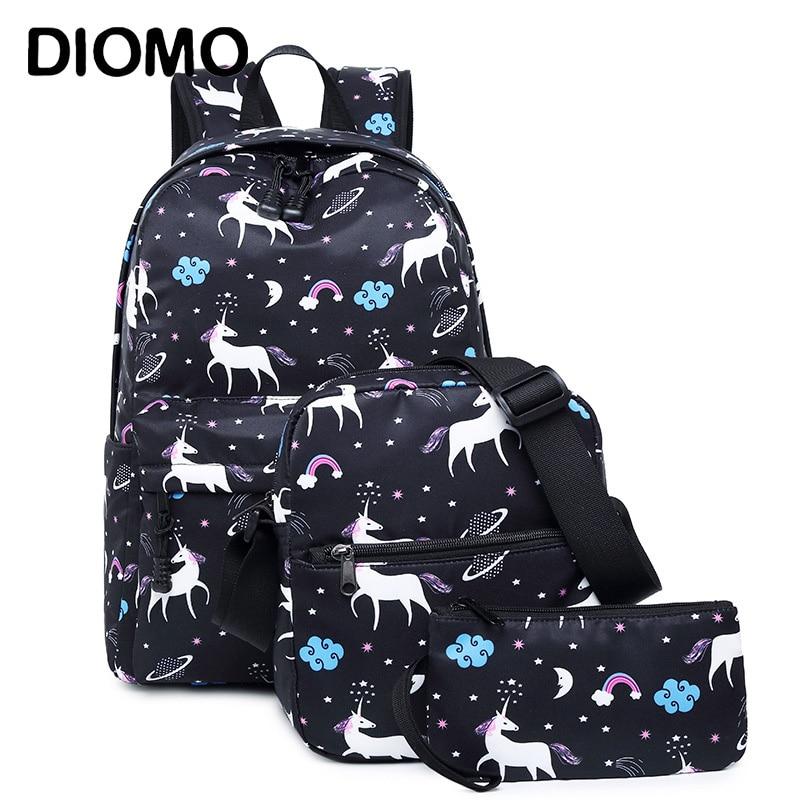 DIOMO  Unicorn Backpack Female Women School Bags Set For Girl Teenagers Satchel Female Animal Bagpack Kids Crossbody Bag Child