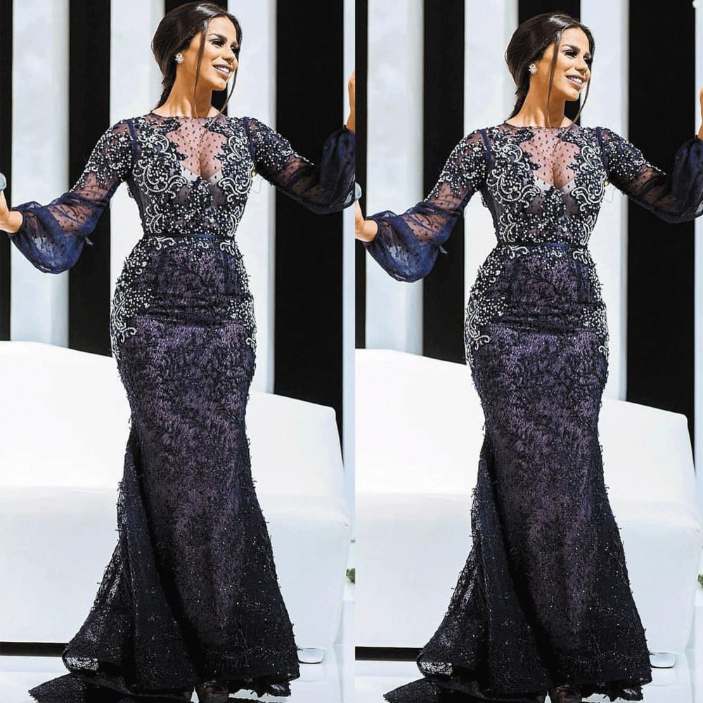 SuperKimJo Navy Blue Evening Dresses Long Mermaid Lace Applique Beaded Modest Evening Gown 2020 Abiti Da Cerimonia Da Sera
