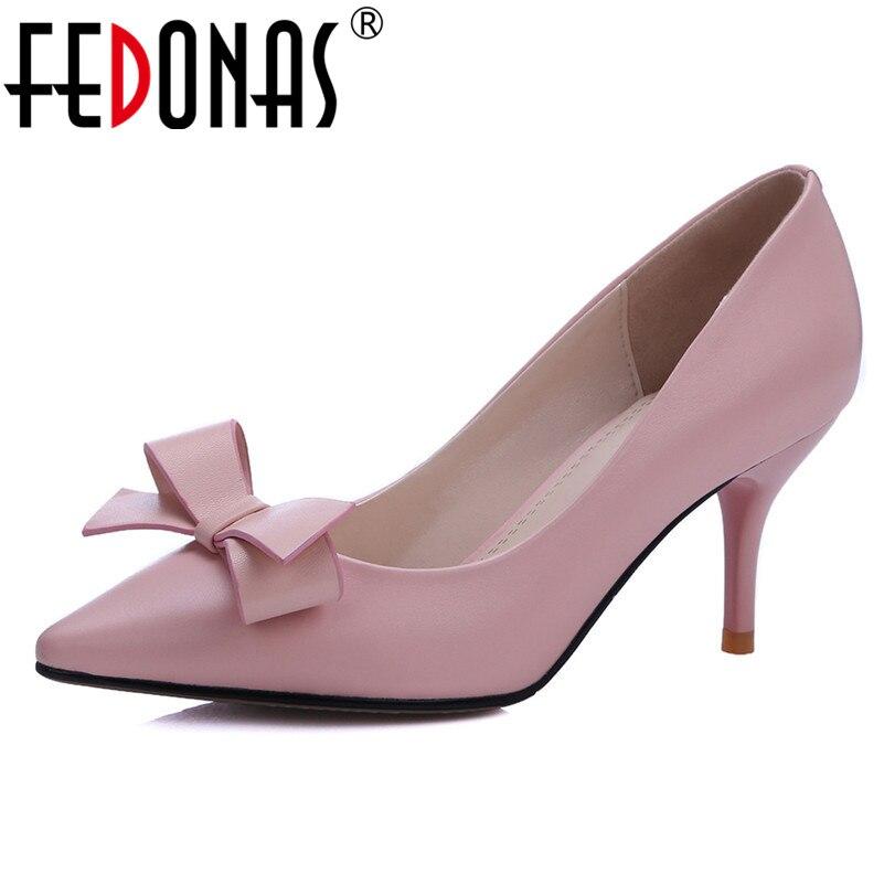 Pointu Soirée Pompes Mignon Nouveau Fedonas Élégant rose Femmes Unique Dames Haute Noir De Sexy Femme Talons Chaussures Papillon Mariage 1 noeud q766f