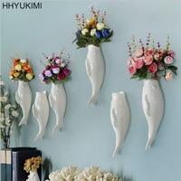 HHYUKIMI Simple Modern Three-dimensional Mural Wall Fish & Starfish Background Wall Decoration Flower Vase Home Furnishing Tools
