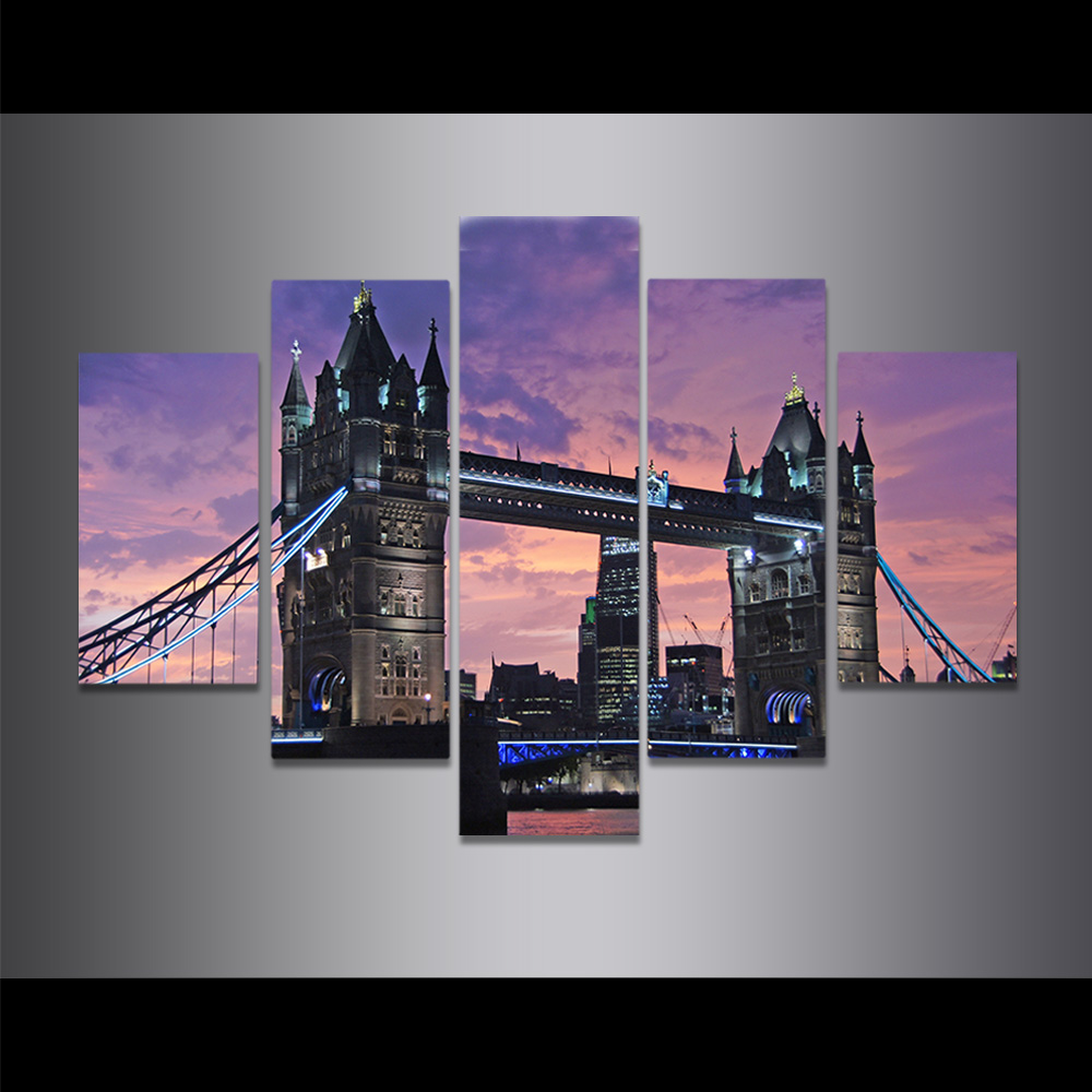 Unframed Canvas Painting City Night Scene Light Tower Bridge Picture Prints Wall Picture For Living Room Wall Art Decoration