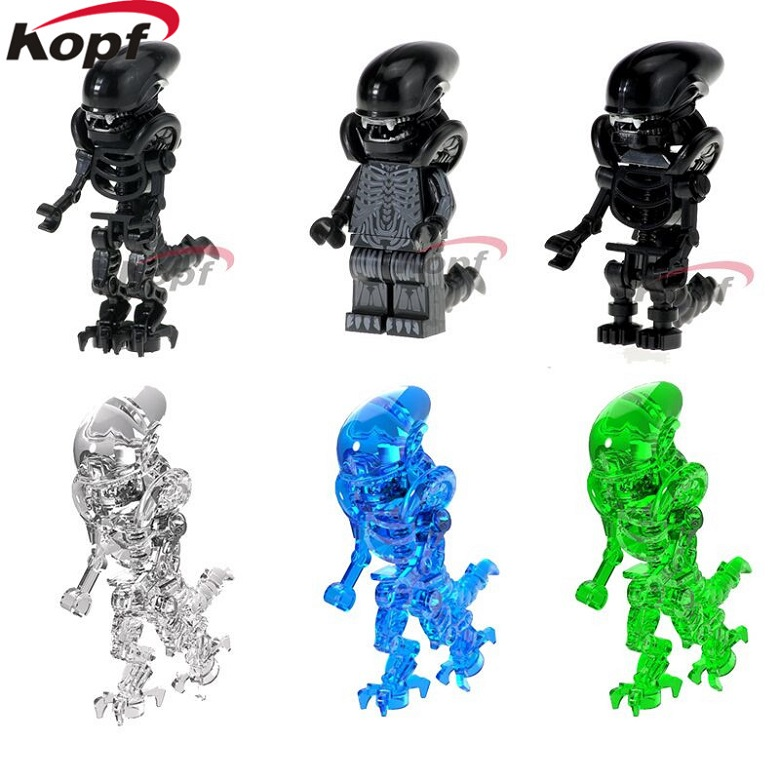 Building Blocks Super Heroes Halloween Green Blue One-Eyed Crystal Cyclops Skeleton Skull Alien Bricks Toys for children Model building blocks super heroes back to the future doc brown and marty mcfly with skateboard wolverine toys for children gift kf197