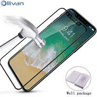 10 pz/lotto All'ingrosso Ollivan HD vetro Temperato per apple iphone x glass copertura Completa Screen Protector Guard Pelicula de vidro 5.8