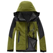 Men's Outdoor Hiking Jacket Softshell Jacket Men Windproof Waterproof Soft Shell Fleece Jackets Camping Clothing Sport Warm Coat
