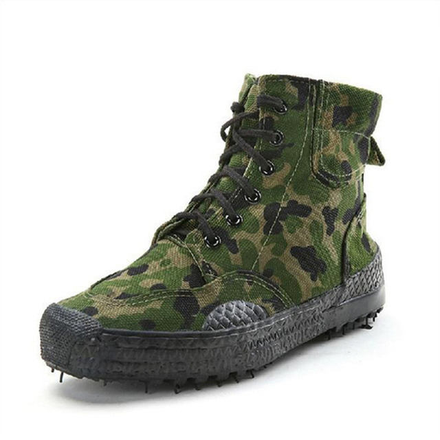 2019 moda męska Casual buty kamuflażowe męskie zabezpieczenie w pracy wyzwolenie gumowe buty dżungla płótno wysokie buty treningowe