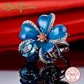 Anéis de prata para As Mulheres Flor Mini Borboleta Azul Esmalte ARTESANAL Anel CZ Anel de Diamante de Prata Esterlina 925 do Sexo Feminino