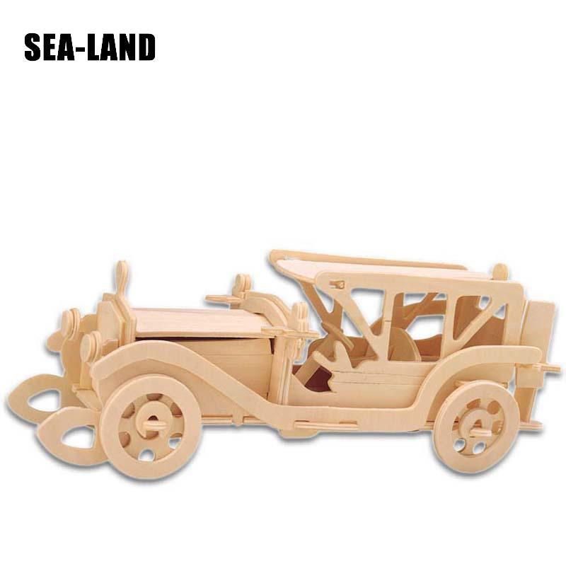 Djeca Igračke Drveni 3D Puzzle Za Djecu Beat-up Car Montessori - Igre i zagonetke - Foto 6