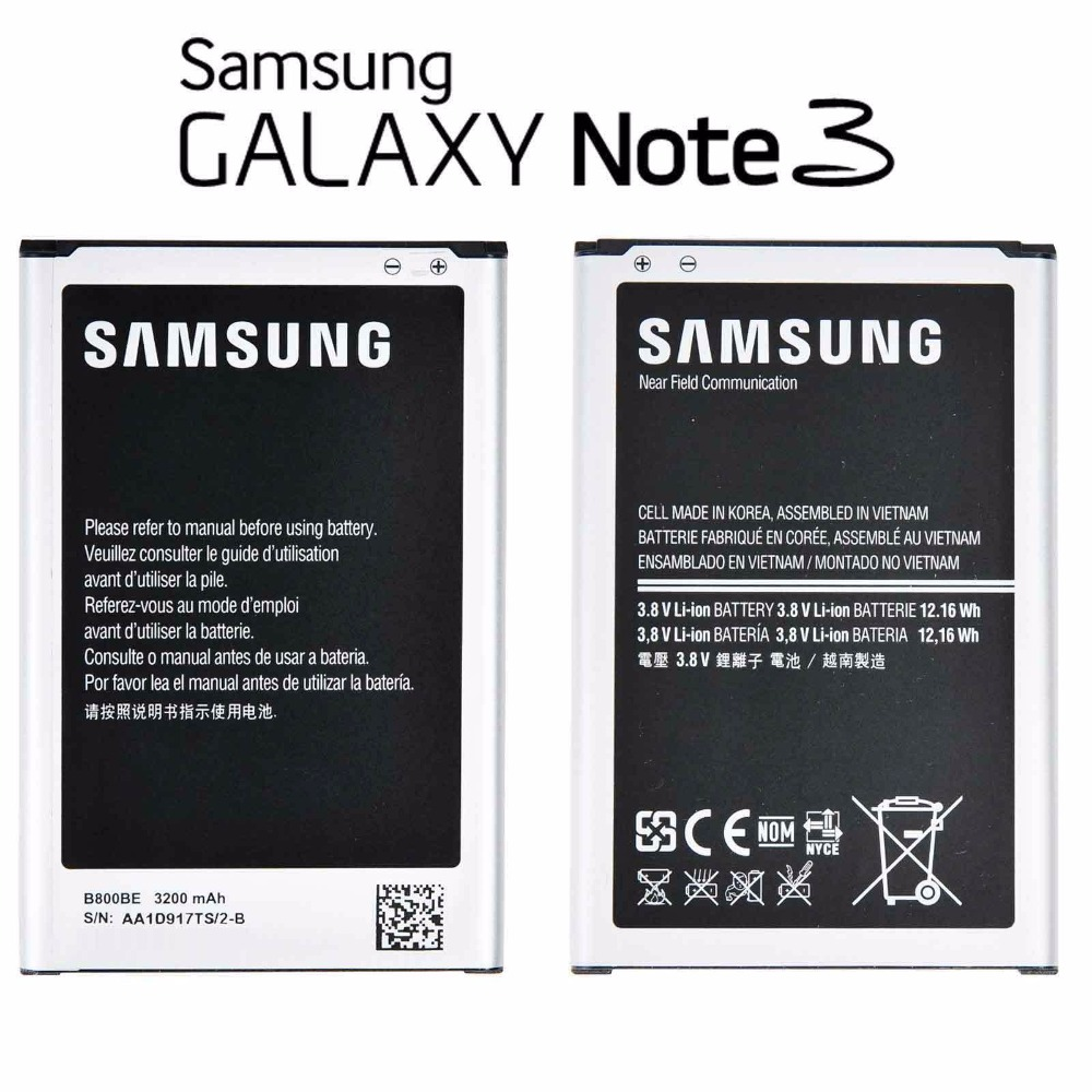 100% Original Samsung Galaxy Note 3 III 3200 mAh Battery for Galaxy GT-N9000 N9005 B800B ...