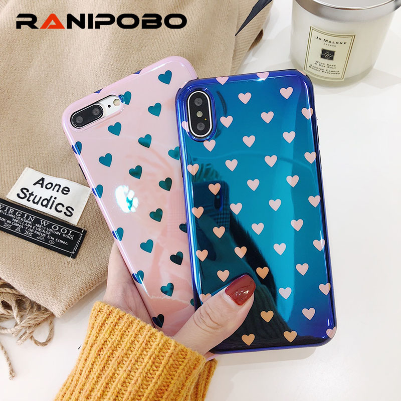 Smooth <font><b>Blu-Ray</b></font> Phone Case For iphone 6 6S 7 8 Plus Cases Fashion Retro Love Heart Couples Cover For iPhone X Case