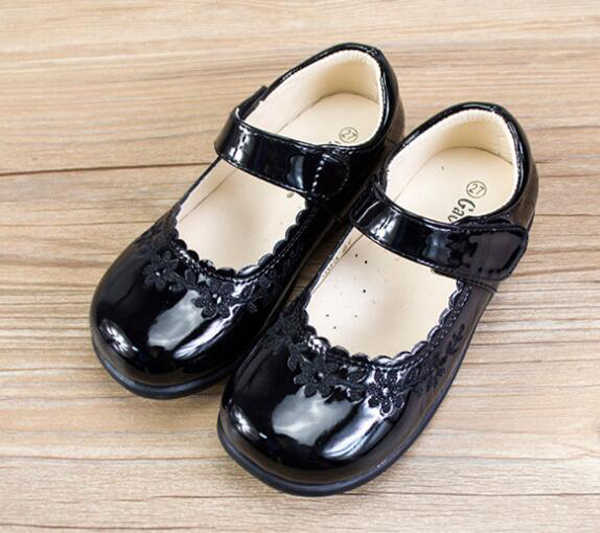 girls school shoes fall PU arch support