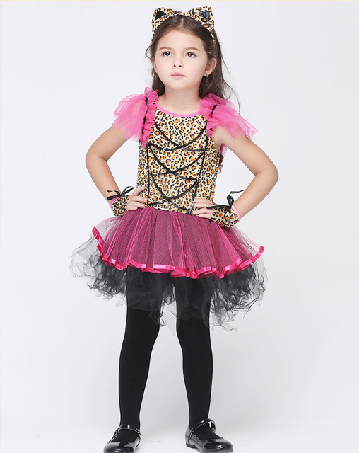 sexy cat woman character halloween costumes for kids baby girl cute cosplay dress set with tire - Cute Halloween Accessories