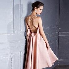 Rose dos nu robe de soirée 2019 été Sexy robe avec dos ouvert sans manches robe de soirée Strapp Wrap robe à volants robe de soirée