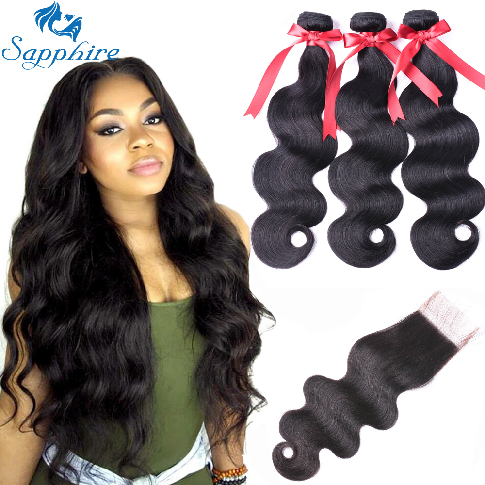 Sapphire Body Wave Bundles With Closure Brazilian Hair Weave Bundles With Closure Human Hair Bundles With