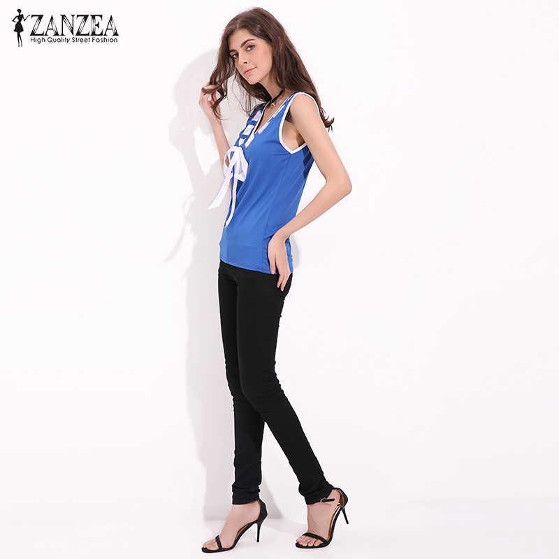 2019 ZANZEA летние футболки Для женщин блузки Повседневное рубашки без рукавов в стиле пэчворк рубашка Slim Fit Лук Blusas Femininos, большие размеры жилет