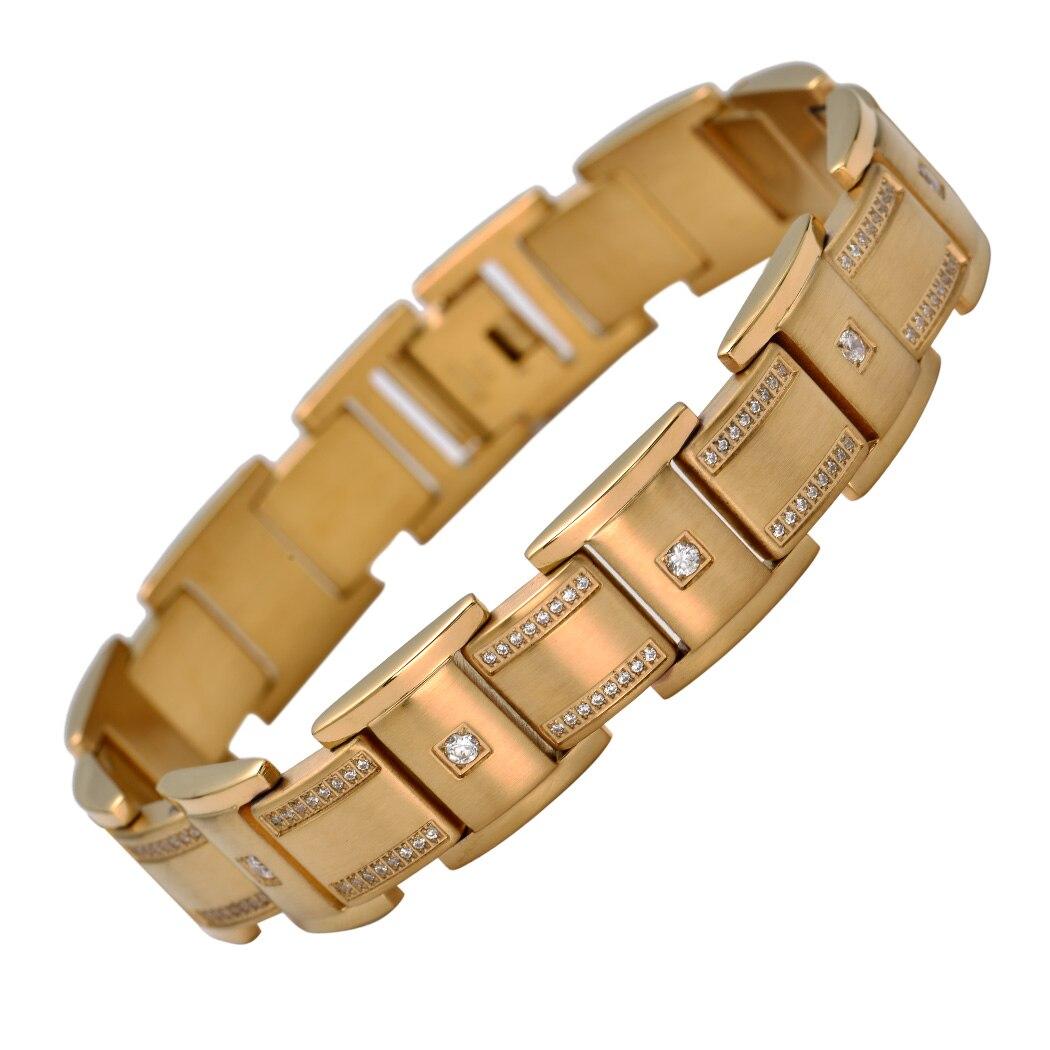 Hommes femmes en acier inoxydable chaîne bracelet biker bijoux cadeaux or argent ton W CZ KB20 vente en gros livraison directe 8