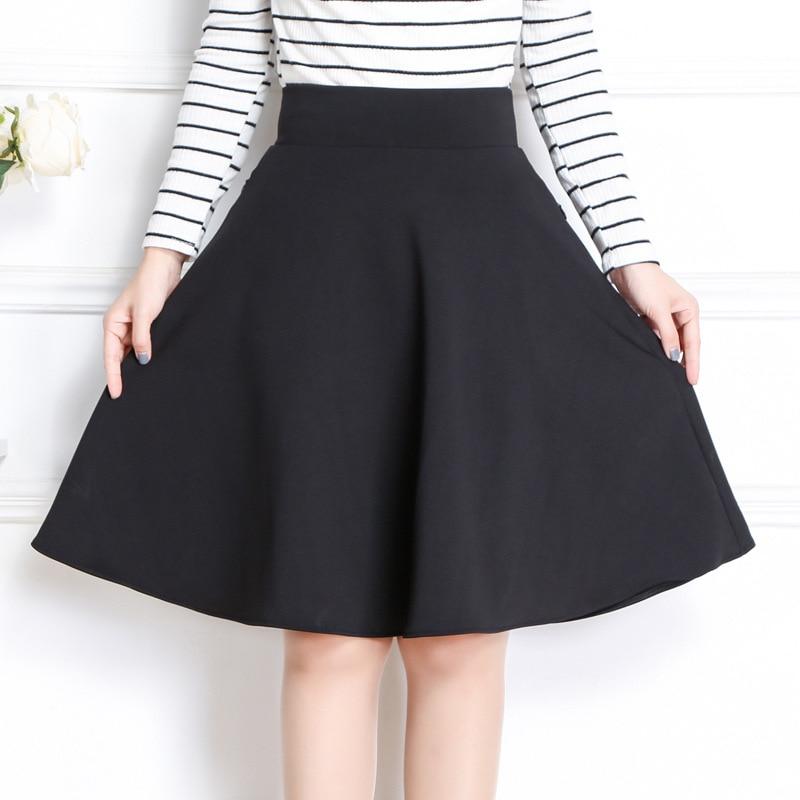 2019 Spring & Spring Women Midi Skirt Korean Fashion Slim Pocket Elastic High Waist A Line Skirt Plus Size Black Sexy Skirt