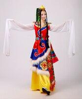2018 г. Новая женская тибетские танцевальные костюмы дамы Костюмы атмосферу сценические костюмы Тибетский рукавом юбка