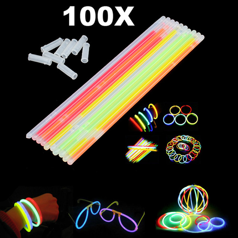 100 Pcs Christmas Party Neon Glowstick Light Stick Kids Funny Glow Stick Toys Glow in the Dark Fluorescent Bracelet Toy For Kids [tool] new kpop arrived bts bangtan boys korea ver 1 0 2 0 light stick for concert glow fluorescent stick fluorescent lamp