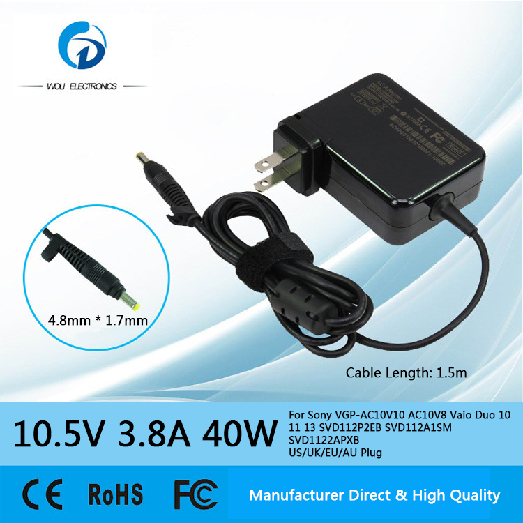 10.5V 3.8A 40W AC Laptop Power Adapter Charger For VGP-AC10V10 AC10V8 Vaio Duo 10 11 13 SVD112P2EB SVD112A1SM SVD1122APXB