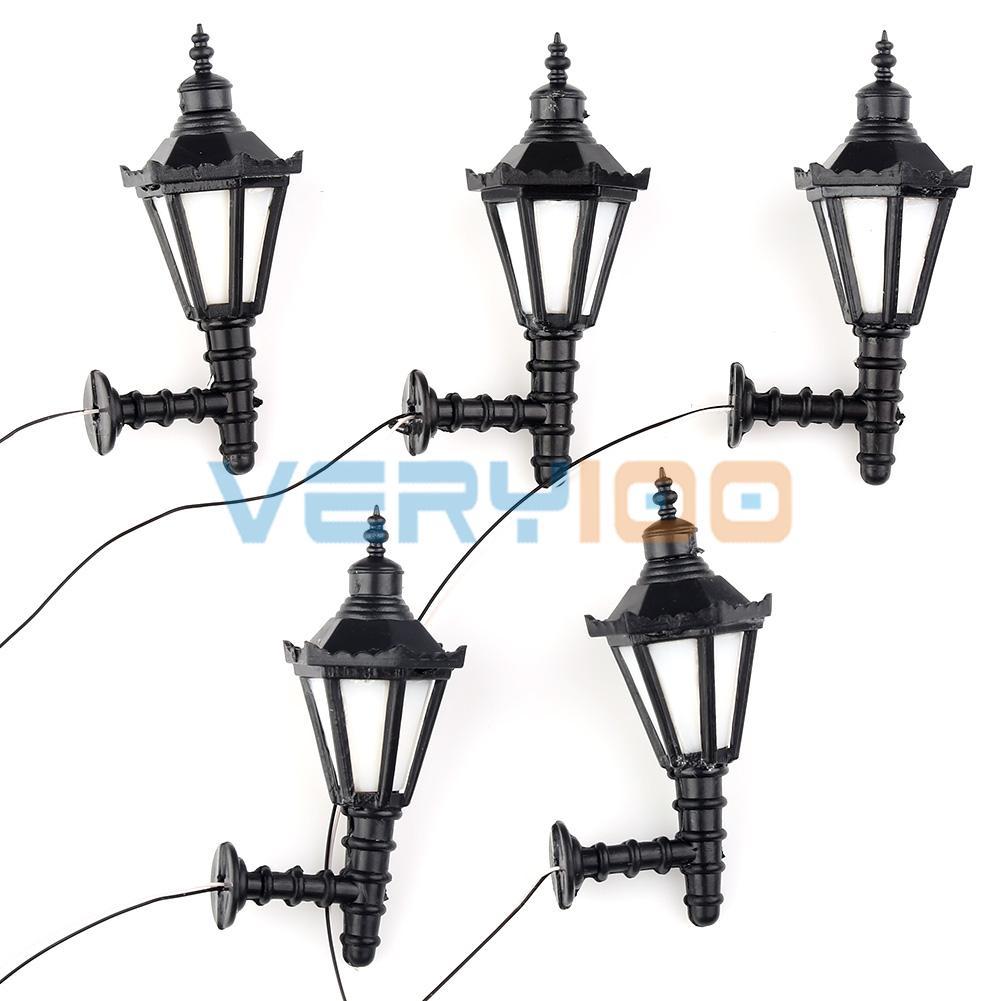 1:25 Model Led Lamppost Lamps Wall Lights Train Railway Scale Modal Layout 3V 5pcs Per Lot
