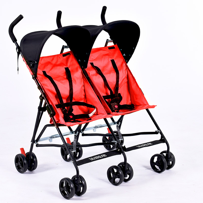 2017 Red hot sale Light Twin Stroller Baby Carriage Portable Car Umbrella Folding Child Twins Trolley side by side cheap price