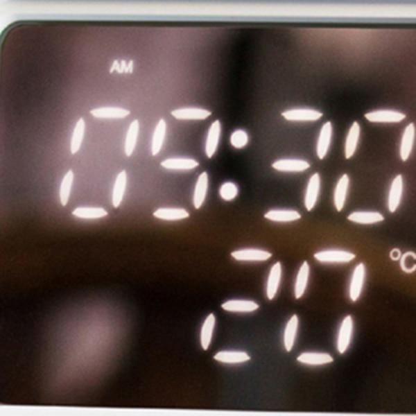 Image 5 - Hot Multi Function Retro Tv Shape Alarm Clock Lamp Mirror Multi Function Mirror Clock Thermometer Bed  Clock Grey Blue-in Alarm Clocks from Home & Garden