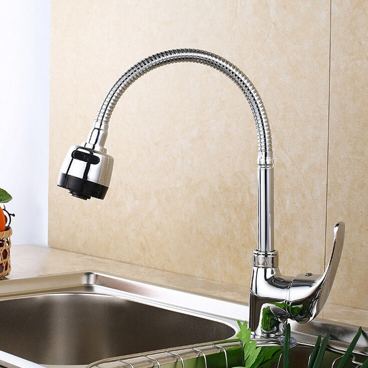 Usherlife Chrome Brass Kitchen Faucet 360 Degree Rotation Swivel Body Faucets Pull Down Sink Mixer Tap