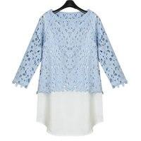 women lace blouse Pure cotton lace hook flower bud silk chiffon unlined upper garment unlined upper garment two piece render